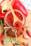 Red chili pepper sauce Stock Photo