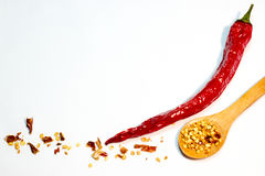 Red chili pepper and seeds stock photos