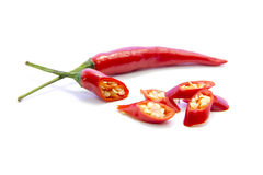 Red chili pepper sliced ingredient and raw material Royalty Free Stock Photo