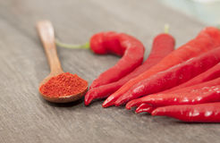 Red chili pepper. And spoon with pepper Royalty Free Stock Photography