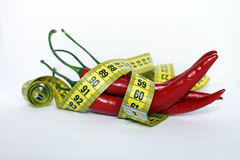 Red chili pepper. Tailors Tape. Measuring tape. Red chili pepper with measuring tape Stock Images