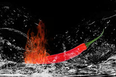Red chili pepper in water. Side view of red chili pepper splashing in water with black background Stock Photography