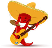Red chili pepper which playing guitar and smoking cigar. Illustration of cartoon red chili pepper which playing guitar and smoking cigar Stock Photography