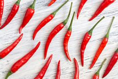 Red chili pepper on a white painted surface. Stock Photography