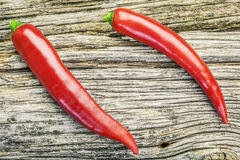 Red Chili Pepper on a wooden board Stock Images