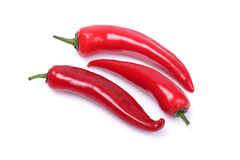 Red chili peppers. Red hot chili peppers on white background royalty free stock photo