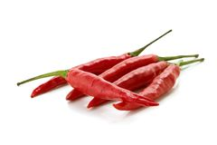 Red chili peppers. Red hot chili peppers over white background Royalty Free Stock Photo