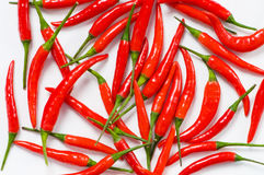 Red chili peppers arranged Stock Photo