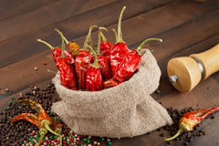 Red chili peppers  in a canvas sack Royalty Free Stock Image