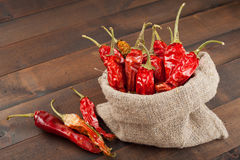 red chili peppers  in a canvas sack on  table Royalty Free Stock Photography