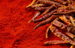Red chili peppers and chili powder Stock Photography