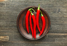 Red chili peppers in a clay plate Stock Images