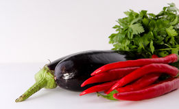 Red chili peppers and eggplant. Concept and Decoration stock image