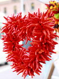 Red chili peppers form a heart. Royalty Free Stock Photos