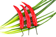 Red chili peppers and green onions with water drops isolated on Royalty Free Stock Photos