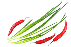 Red chili peppers and green onions with water drops isolated on Royalty Free Stock Photo