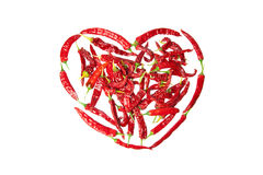 Red chili peppers heart symbol Stock Photos