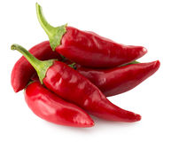 Free Red Chili Peppers Isolated On The White Background Stock Photos - 81021193