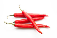 Red chili peppers. Isolated on the white background Royalty Free Stock Images