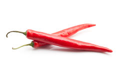 Red chili peppers. Isolated on the white background Stock Photo