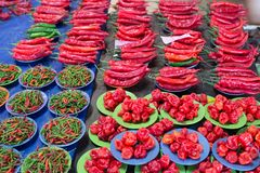 Red chili peppers. In malaysian borneo market. Selective focus Stock Image