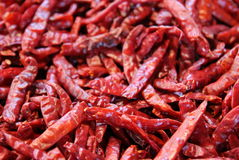 The red chili peppers on the market. Stock Photo