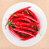 Red chili peppers on plate Stock Photo