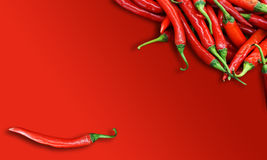 Red chili peppers on red bachground Stock Photos
