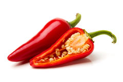 Red Chili Peppers with Seeds Stock Images