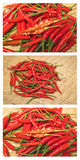 Red Chili Peppers With Seeds on bamboo mat. Closeup view and texture stock photography