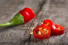 Red chili peppers slices Royalty Free Stock Image
