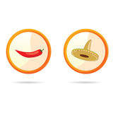 Red chili peppers and sombrero vector illustration Stock Photo