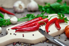 Red chili peppers and spices on cutting board Stock Image