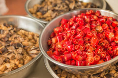 Red chili peppers, split closeup view Stock Photo