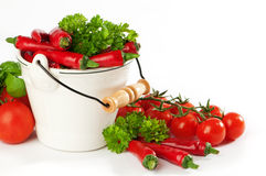 Red Chili Peppers & Tomatoes Royalty Free Stock Photo