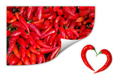 Red chili peppers with two peppers forming a heart Stock Image