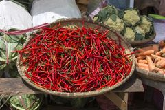 Red chili peppers wallpaper. Market in Indonesia royalty free stock images