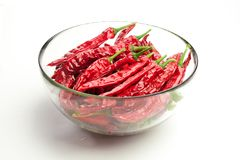 Red chili peppers  on white Royalty Free Stock Photography