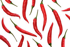 Red chili peppers on white background Stock Images