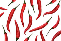 Red chili peppers on white background Royalty Free Stock Images