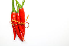 Red chili peppers on white background. isolated fresh hot chili. Peppers Stock Photos