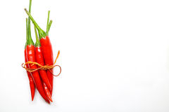 Red chili peppers on white background. isolated fresh hot chili. Peppers. Fresh spice ingredient for cooking Royalty Free Stock Photography