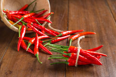Red Chili peppers on wooden background Stock Images