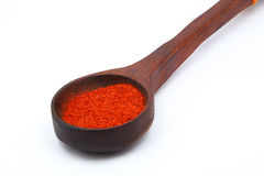 Red Chili Powder in a Wooden Table spoon Royalty Free Stock Photos