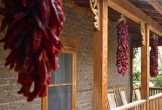 Red Chili Ristras at Heritage Farmhouse stock images
