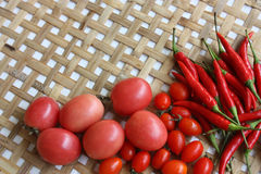 Red chili and tomato Royalty Free Stock Photos