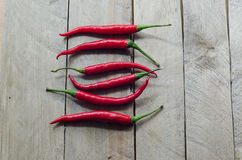 Red chili on an wooden background Stock Photography
