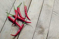 Red chili on an wooden background Royalty Free Stock Photo