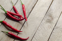 Red chili on an wooden background Royalty Free Stock Images