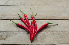 Red chili on an wooden background Stock Images